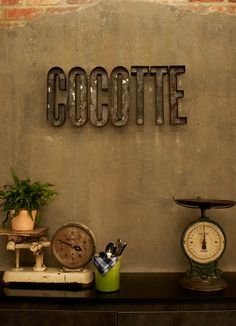 Dimensional type signage at Cocotte. Designed by Foreign Policy Design Group for the Wanderlust Hotel in Singapore.