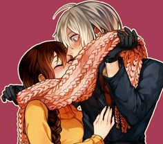 Hetalia/nyotalia fem!Lithuania X male!Belarus scarf.  This us actually really cute, like bit just the art but when I think about it. It seems cute O3O
