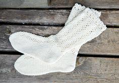 Crocheted long wool socks