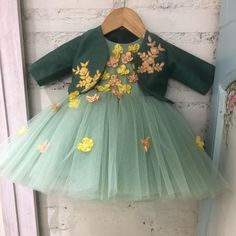 For just born a 3 month old 4 piece set of a frock a raw silk jacket hairband plus booties in an earthy shade of green with delicate… Baby Girl Frocks, Frocks For Girls, Little Girl Dresses, Girls Frock Design, Baby Dress Design, Kids Dress Wear, Kids Gown, Baby Frocks Designs, Kids Frocks Design