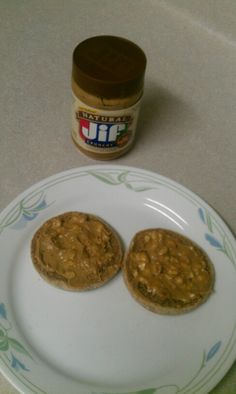 Breakfast  1 Whole Grain English Muffin,  2 Tbs. JIF Natural crunchy Peanut Butter  (240 calories total)