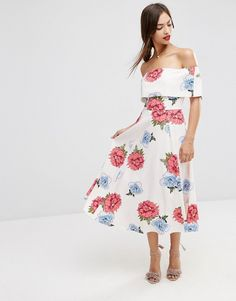 Image 1 of ASOS Premium Off The Shoulder Bardot Midi Prom Dress In Summer Garden Floral