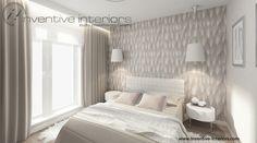 Projekt sypialni Inventive Interiors - przytulna beżowa sypialnia z piękną tapetą