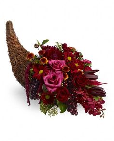 unique Fall Flower Arrangements in cornicopia | Fall Flower Scenes