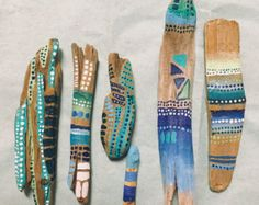 5 spirit sticks hand painted driftwood pieces /// by StudioLuxx
