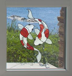 """CLR:WND - Koi Fish Pair Stained Glass - Window 