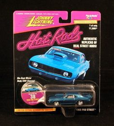 1969 PRO STREET * BLUE * Johnny Lightning 1997 HOT RODS 1:64 Scale Die Cast Vehicle by Playing Mantis. $9.99. Vehicle measures approximately 3 inches long. Die Cast Body & Chassis. Limited Editon New Casting.. Ages 6 and up. From Playing Mantis. 1969 PRO STREET * BLUE * Johnny Lightning 1997 HOT RODS 1:64 Scale Die Cast Vehicle. Authentic replicas of real street rods!. Originally Released in 1997 - Retired / Out of Production!. Johnny Lightning 1997 HOT RODS 1:64 Scale Die Cast ...