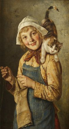 Young friends Painting by Rudolf Hirth Du Frenes Reproduction Art And Illustration, Illustrations, I Love Cats, Crazy Cats, She And Her Cat, Tricot D'art, Carl Spitzweg, Animal Gato, Image Chat