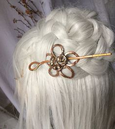 copper shiny  hair barette copper hair clip hair by CopperFinger