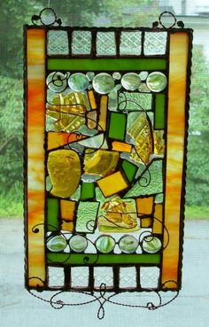 green and amber window.   I forget how much I love stained glass!  This is beautiful!