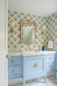 Bamboo Trellis, Painted Vanity, Bamboo Mirror, Powder Room Design, Transitional Bathroom, Bathroom Kids, Girl Bathroom Decor, Bathroom Interior Design, Beautiful Bathrooms