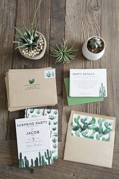 Kick off your cacti-inspired wedding with these fitting wedding invitations.