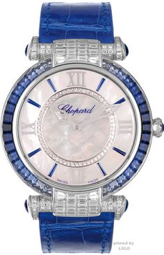 Chopard Imperiale watch in white gold, pearl, amethysts, sapphires and diamonds Trendy Watches, Elegant Watches, Beautiful Watches, Cool Watches, Watches For Men, Woman Watches, Unique Watches, Luxury Watches, Timex Watches