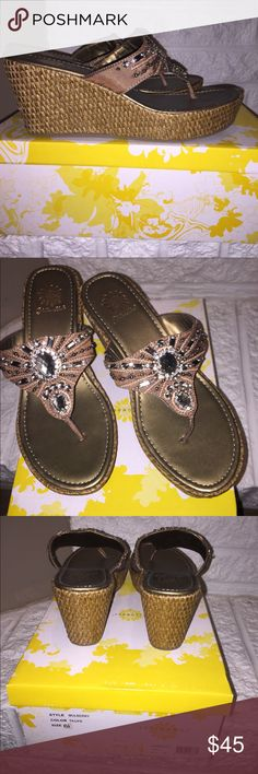 YELLOW BOX MULBERRY SZ 6 1/2 TAUPE SHOES WOMEN'S YELLOW BOX MULBERRY STYLE SZ 6 1/2 TAUPE COLOR FLIP FLOPS THONG SANDALS W/ RHINESTONES.  NEW IN BOX Yellow Box Shoes Wedges