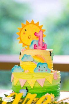 Kara's Party Ideas Stellar You Are My Sunshine Birthday Party Sunshine Birthday Cakes, Sunshine Cake, First Birthday Cakes, First Birthday Parties, First Birthdays, Birthday Ideas, Baby Birthday, Birthday Decorations, Balloon Birthday