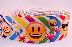 "3"" Wide Chevron Happy Emojis Printed on Grosgrain Cheer Bow Ribbon"
