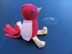 Red Bird Stuffed Animal Sweaterdoll Upcycled from Wool Sweaters