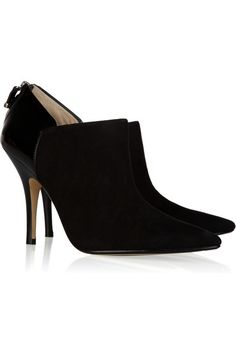 KORS Michael Kors Marlow Suede and Patent-Leather Ankle Booties.