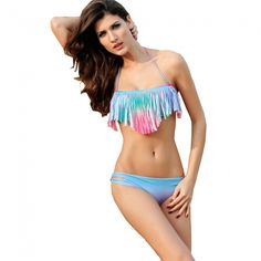 Womens Fashionable Tassel Multi-colored Bandeau Fringe Top Swimsuits Bikini