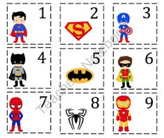 Preschool Printables: Super Hero Number Cards