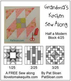 Grandma's Kitchen Sew Along with Pat - Block 4 Half a Modern