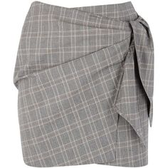 Isabel Marant Étoile Ninon Checked Cotton Wrap Skirt - Size 10 (4.475 ARS) ❤ liked on Polyvore featuring skirts, cotton wrap skirt, grey cotton skirt, grey skirt, checkered skirt and wrap skirt