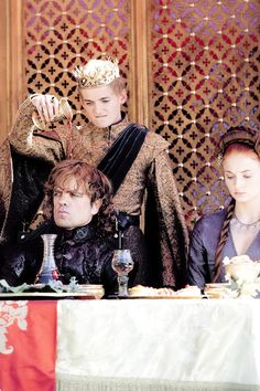 Game of Thrones: Joffrey Baratheon, Tyrion Lannister, and Sansa Stark Game Of Thrones Joffrey, Game Of Thrones 4, Game Of Thrones Funny, Tyrion And Sansa, Sansa Stark, Cersei Lannister, Arya, Winter Is Here, Winter Is Coming