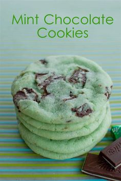 Mint Chocolate Chip Cookies via Crafty Corner
