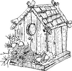 Difficult Coloring Pages For Adults | Coloring Pages - Garden/Bird-House