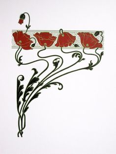 Модерн красные Маки ограниченный тираж шелкография NigelDK _ Art Nouveau Red Poppies limited edition screenprint by NigelDK Motifs Art Nouveau, Motif Art Deco, Art Nouveau Pattern, Art Nouveau Design, Art Nouveau Tattoo, Tatuagem Art Nouveau, Flores Art Nouveau, Art Nouveau Flowers, Arte Art Deco