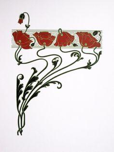 Art Nouveau : Red Poppies