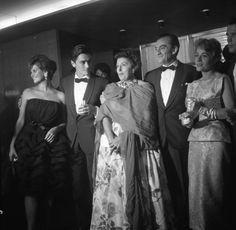 """Promoting """"Rocco e i suoi fratelli"""" at the 1960 Venice film festival; Claudia Cardinale, Alain Delon, Katina Paxinou, Luchino Visconti and Annie Girardot."""