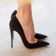 Christian Louboutin 'So Kate' 120 Suede Black Louboutin Heels, So Kate Louboutin, Christian Louboutin So Kate, Black Heels, Stiletto Heels, Black Suede, Louboutin Shoes Women, White Pumps, Stilettos