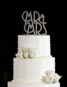 Mr & Mrs Art Deco Acrylic Wedding Cake Topper (Gold Glitter, Silver Glitter)