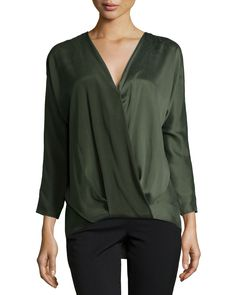 Ally Long-Sleeve Blouson Top, Alligator Green, Women's, Size: SMALL - Ramy Brook