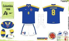 Colombia away kit for the 1998 World Cup Finals.