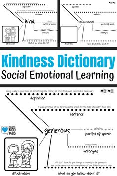 Teach social emotional learning curriculum to your students with this Kindness Dictionary to teach sel vocabulary. It's perfect for social emotional activities to teach kids new social emotional vocabulary by creating vocabulary activities. Teaching Kindness, Kindness Activities, Social Emotional Activities, Vocabulary Activities, Teaching Kids, Tools For Teaching, Vocabulary Graphic Organizer, Gentle Parenting, Parenting Tips