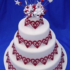 Sparkly Red Hearts Wedding Cake · cakes / Wedding Cakes