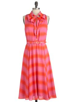 Pinking Clearly Dress by Eva Franco - Long, Orange, Pink, Stripes, Party, Sleeveless, Summer, Belted, Shirt Dress, Tie Blouse
