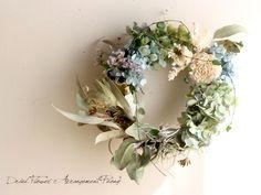 シダーローズとアジサイのリース - ドライフラワーリース/ウェルカムボード/ ウェルカムリース| Dried Flower Arrangement ''Peony'' ピオニー