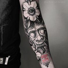 Demon tattoo on forearm blackwork by Vladislav Pacianskiy Forearm Tattoos, Arm Band Tattoo, Body Art Tattoos, New Tattoos, Cool Tattoos, Hannya Mask Tattoo, Hanya Tattoo, Demon Tattoo, Japanese Tattoo Art