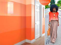 Uma parede em degradê laranja, um charme!