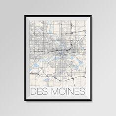 Des Moines map, Iowa, USA, Des Moines print, Des Moines poster, Des Moines map art, Des Moines city maps, Des Moines Minimal Wall Art, Des Moines Office Home Décor, black and white custom maps, personalized maps