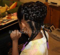 braided bun with cornrows Lil Girl Hairstyles, Natural Hairstyles For Kids, Princess Hairstyles, Curly Hair Styles, Natural Hair Styles, Natural Hair Accessories, Black Hair Care, Hair Affair, Girls Braids