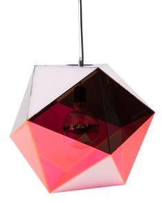 Icosahedron Pendant in pink/smoke