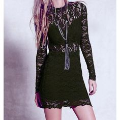 European Style Summer Fashion Slim Lace Hollow Out Long Sleeve One-step  Short Dress ( adf038903394