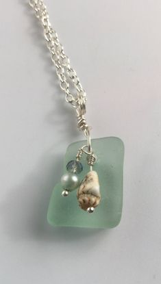 SeaFoam SeaGlass Pearl Pendant with Swarovski Crystals Necklace, Mermaid Treasure Jewelry, Jewelry gift idea for Mom, Sister, Aunt, gfriend