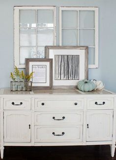 HARDWARE CHANGE - And here you probably thought that all credenzas were mid-century styled. While that may be true for the majority, you can certainly find ornate cabinets that only require a change of hardware to instantly fit perfectly into your country chic home. Just imagine pulling your gingham tablecloth out of that chest. www.buffetsandcabinets.com