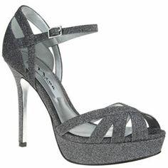 Nina SENORA GUNMETAL GLITTERATI by Nina Shoes Grey Sandals, Glitter Sandals, Shoes Sandals, Strappy High Heels, Strap Heels, Nina Shoes, Me Too Shoes, Evening Sandals, Peep Toe Shoes