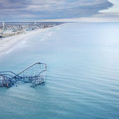 Never mind about that idea to make the Sandy-sunken roller coaster in Seaside Heights a tourist attraction! San Francisco Airport, Seaside Heights, Hurricane Sandy, Planet Of The Apes, Once In A Lifetime, Drone Photography, Roller Coaster, Mother Earth, Caribbean